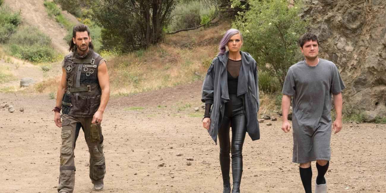 Derek-Wilson-Eliza-Coupe-and-Josh-Hutcherson-in-Future-Man-Season-2