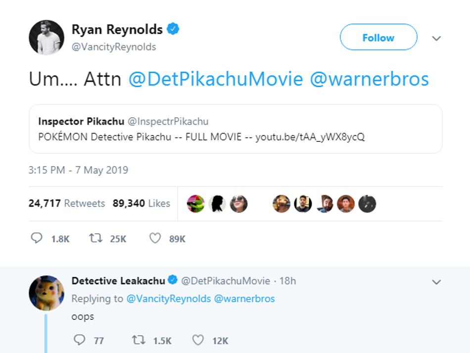 Ryan Reynolds Detective Pikachu Tweet